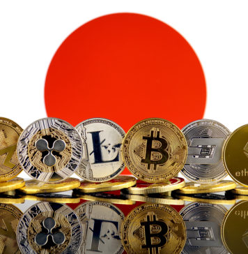 Japanese flag with a range of cryptocurrencies in front.