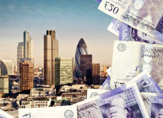 The skyline of London is partially obstructed by pound notes.