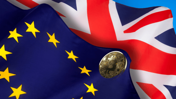 The flags of the United Kingdom of Great Britain and the European Union, along with physical representation of cryptocurrency.
